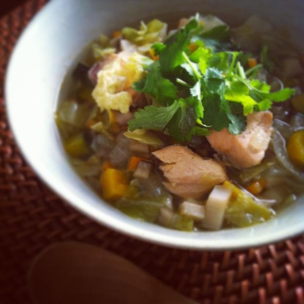 macrobiotic salmon soup