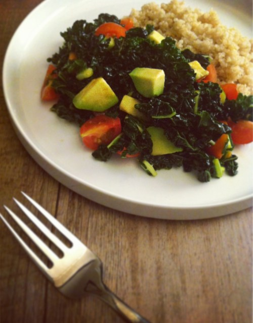 marinated kale and avocado salad