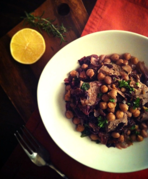 tuna steak braised with radiccio chickpeas and rosemary