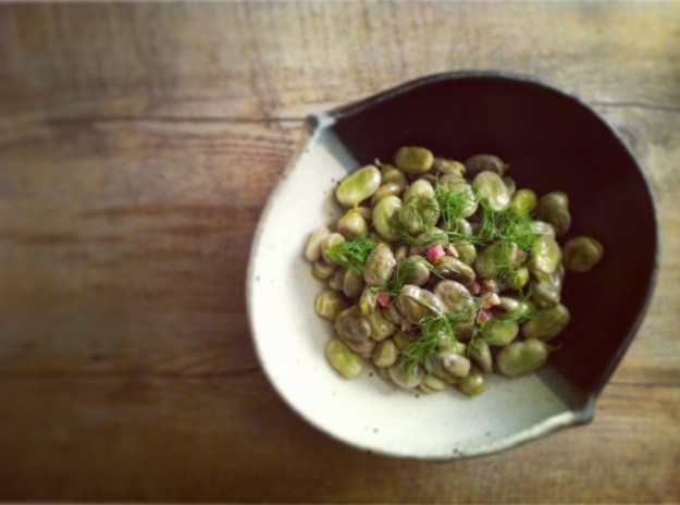 Braised fava beans with pancetta