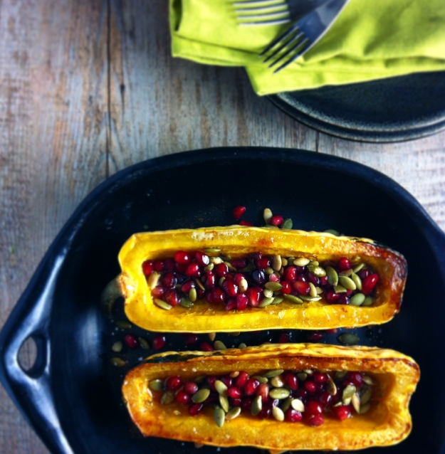 roasted delicata squash with pomegaranate seeds and pepitas